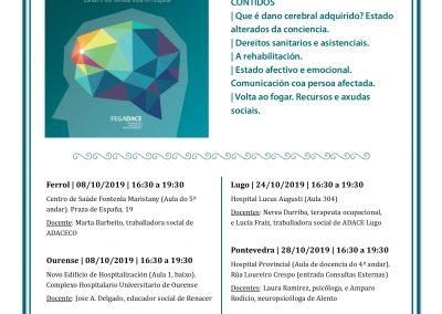 Obradoiros sobre o dano cerebral (Escola Galega de Saúde para Cidadáns)